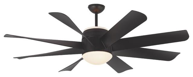 """Monte Carlo 56"""" Turbine Matte Black Ceiling Fan."""