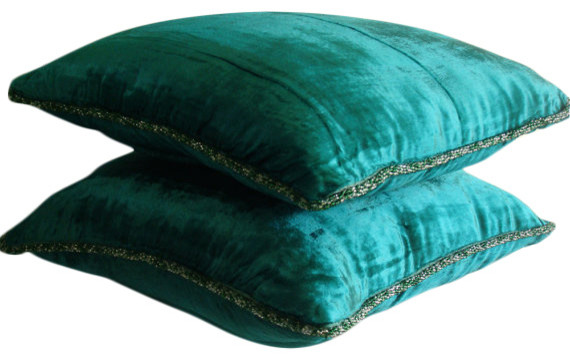 Solid Color Green Velvet 20 X20 Pillows Cover Royal Pea Shimmer