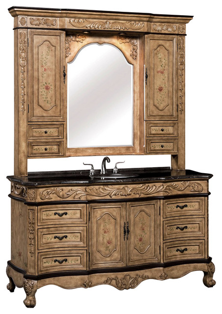 Bathroom Hutch 64 inch single vanity with marble top and hutch, 2 piece