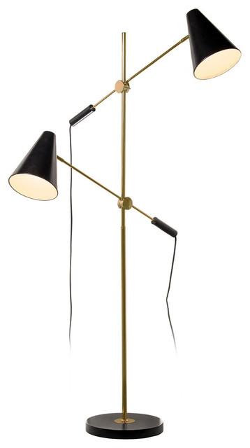 Rexford 2-Light Floor Lamp, Vintage Bronze And Matte Black.
