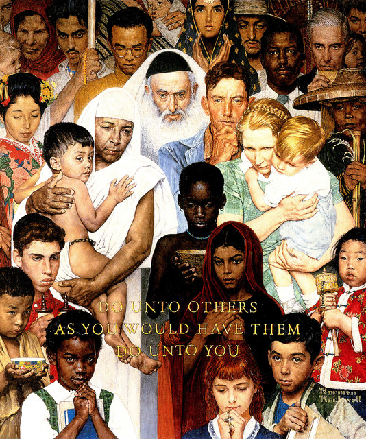 """""""golden Rule"""" Painting Print On Canvas By Norman Rockwell."""