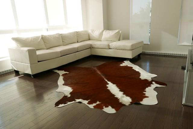 Brown And White Cowhide Rug From Brazil.