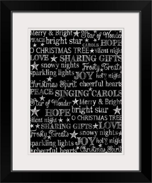 Christmas Chalkboard.Christmas Chalkboard Black Framed Art Print 20 X24 X1