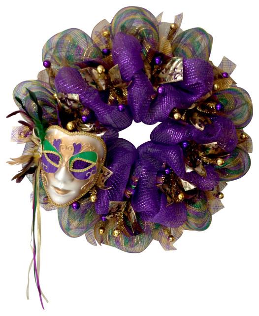 Mardi Gras Feather Venetian Mask Deco Mesh Wreath.