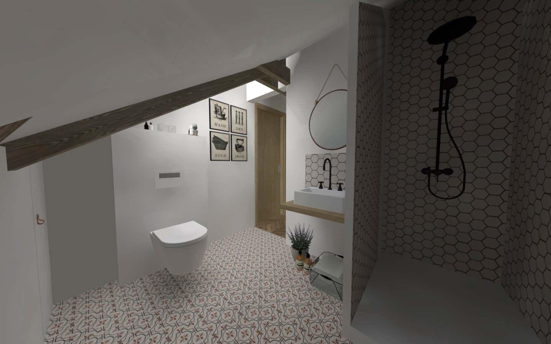 Aménagement des combles d'une maison de plein pied, option 1 la salle de bain