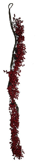 5&x27; Christmas Traditions Artificial Decorative Berry Garland, Unlit.