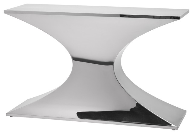 best service fdeb7 ddf7d Praetorian Console Contemporary Modern Console Table, Polished Stainless  Steel