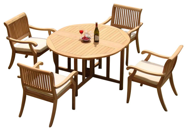 5 Piece Teak Dining Set 48 Quot Round Butterfly Table 4
