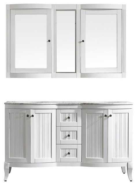"Verona 60"" Double Vanity With Carrera White Marble Top, White, With Mirror"