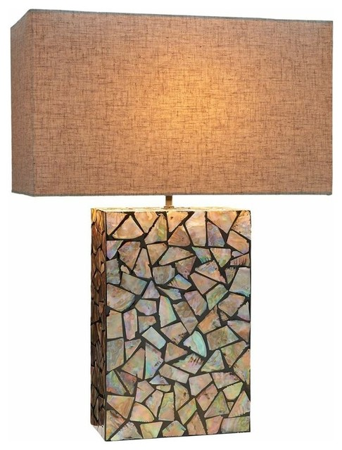 Mosaic Mother Of Pearl Table Lamp Beach Style Table Lamps