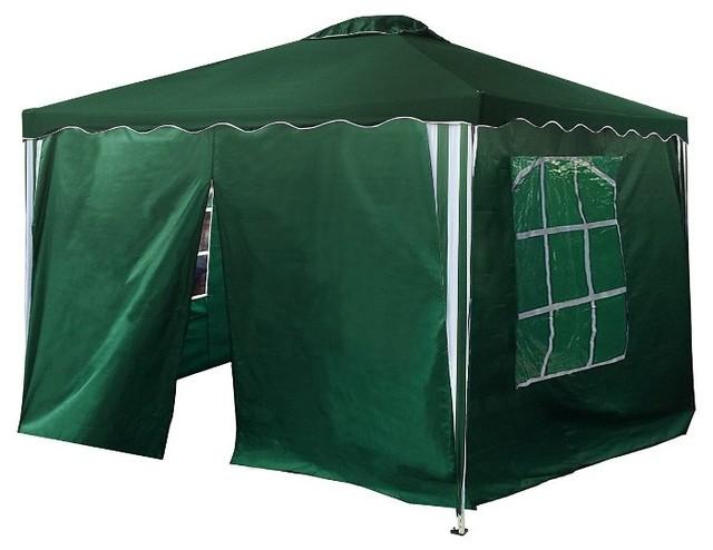 Aleko Oxford Fabric Iron Foldable Gazebo Canopy, 4 Sidewalls, Green, 10&x27;x10&x27;.