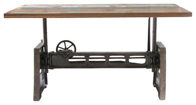 Reclaimed Wood And Iron Adjustable Dining Table Rustic Dining