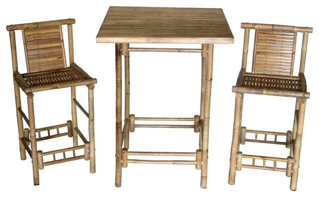 3 Piece Bar Height Square Table With 2 Bar Stools.