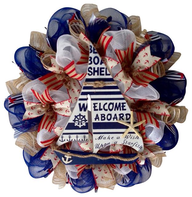 Make A Wish Upon A Starfish Nautical Welcome Wreath Handmade Deco Mesh.