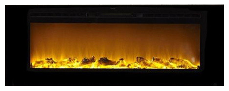 """Sideline 60"""" Wide Wall Mounted Electric Fireplace, Black."""