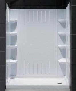 """Dreamline - DreamLine SlimLine 30""""x60"""" Base Center Drain and Shower Backwall Kit - View in Your ..."""