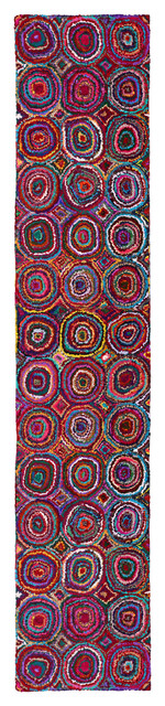 Brilliant Ribbon Circles Rug, 2.5&x27;x12&x27; Runner.