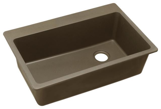 """Elkay Quartz Classic 33""""x22""""x9-1/2"""" Top Mount Sink Mocha ELG13322MC0"""