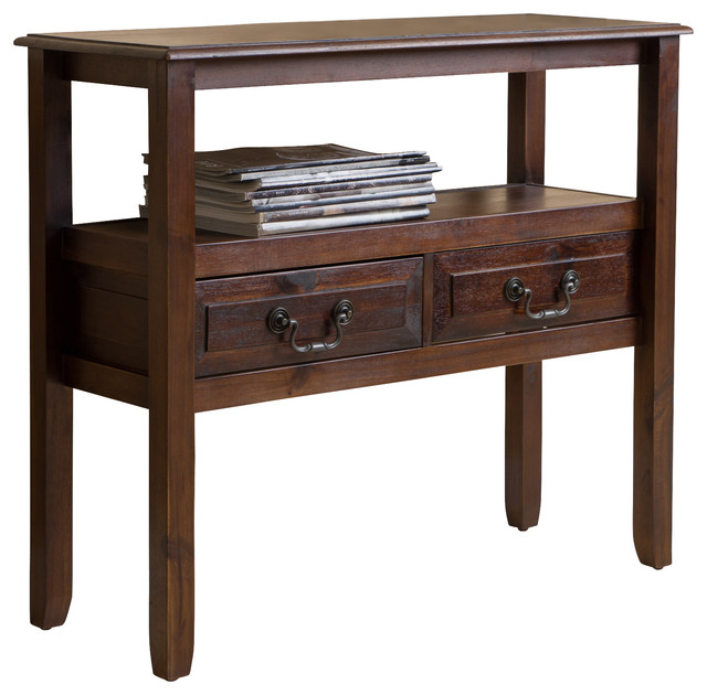 Noah Wood Accent Table, Brown Mahogany Traditional Console Tables