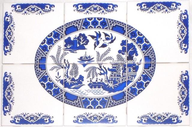 Blue Willow Kiln Fired Ceramic Tile Mural Backsplash 6