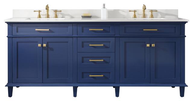 80 Double Sink Vanity Cabinet, Blue Bathroom Vanity Cabinet