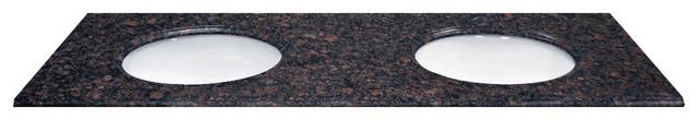 """61"""" X 22"""" Double Bowl Tan Brown Natural Granite Vanity Top."""