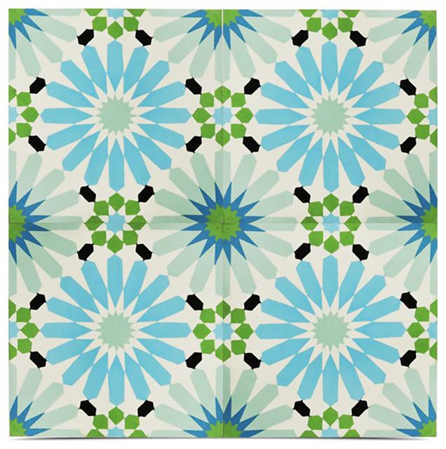 "8""x8"" Alhambra Handmade Cement Tile, Multicolor, Set Of 12."