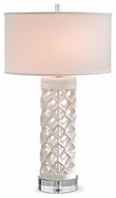 Mamounia Global Bazaar White Marble Crystal Fretwork Round Table Lamp  Eclectic Table Lamps