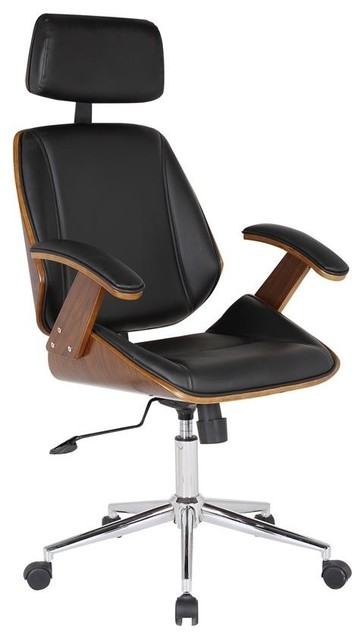 Armen Living Century Office Chair Multifunctional Mechanism In Chrome Finish