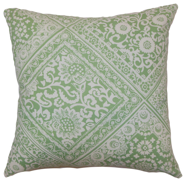Houzz Spring Landscaping Trends Study: Kayea Floral Bedding Sham Mint, 26x26