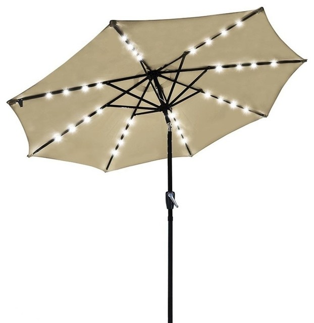 Outdoor Patio 32 Led 8 Ribs Solar Powered Aluminium Umbrella Crank Tilt, Beige.