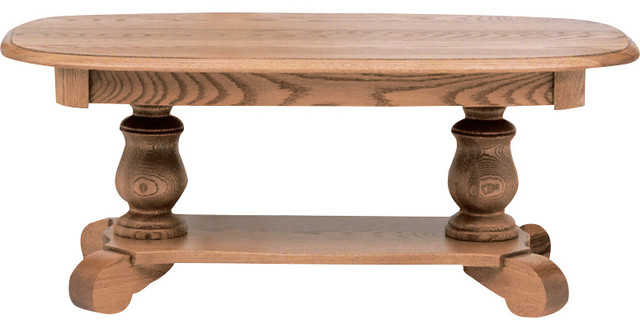 The oak furniture shop solid oak country style pedestal coffee table reviews houzz Traditional coffee tables and end tables