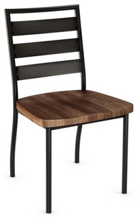 Sleek Dining Chairs With Wood Seat, Set of 2