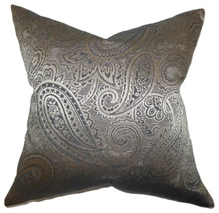 The Pillow Collection - Cashel Paisley Pillow Gray - View in Your Room! Houzz