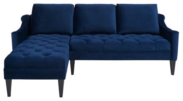 Velvet Tufted Reversible Sectional Sofa