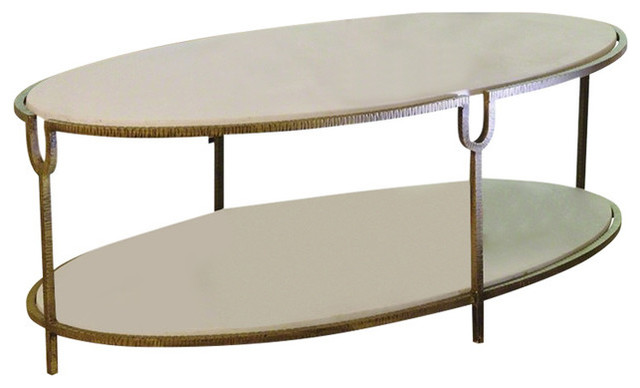Hammered Gold Iron Marble Clic Oval Coffee Table Shelves Stone White Luxe