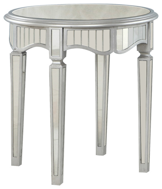 Royal Glam Round Mirrored Silver End Table