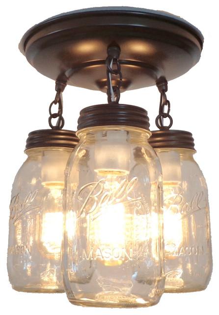 Mason Jar Light Fixture Trio of New Quarts, Oil Rubbed Bronze  traditional-flush-