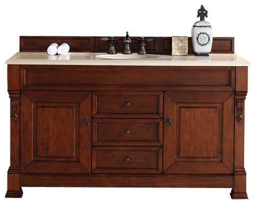 """Brookfield 60"""" Warm Cherry Single Sink Vanity, 2cm Galala Beige Marble Top."""