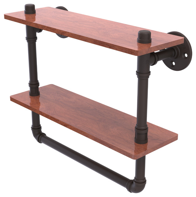 "Pipeline Collection 16"" Double Ironwood Shelf With Towel Bar, Oil Rubbed Bronze."