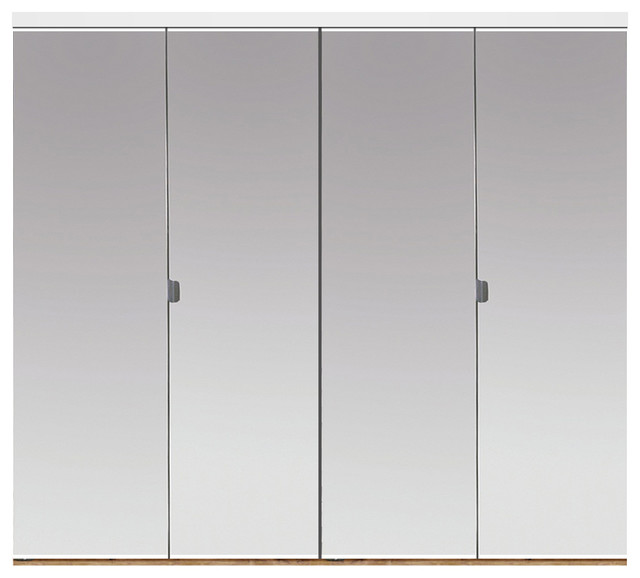 "Silver Lake Bi-Fold Mirror Doors, Beveled Edge, White, 72""x80""."