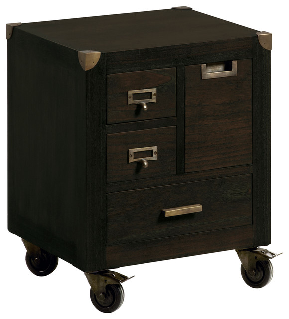 Industrial 4-Drawer Bedside Table.