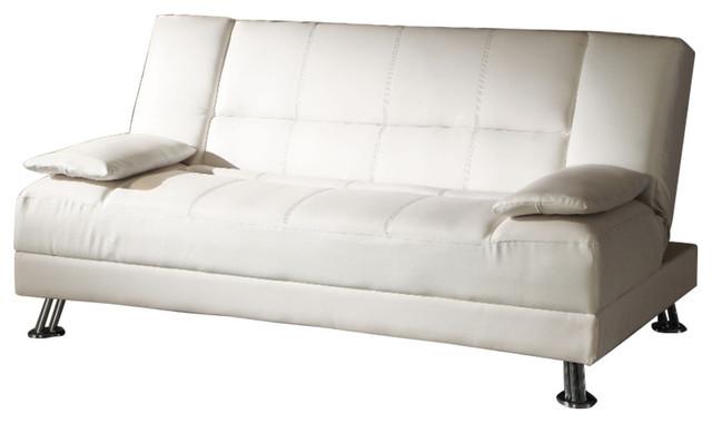 Voguish Adjustable Sofa With Metal Legs, White.