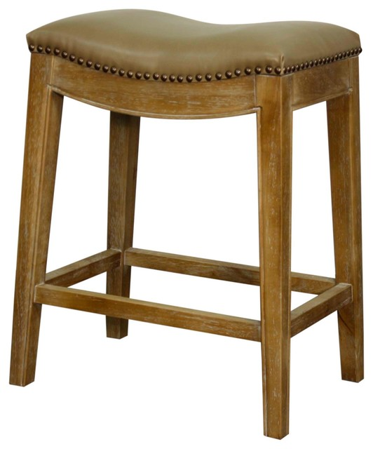 Elmo Bonded Leather Counter Stool With Weathered Legs Vintage Taupe transitional-bar-stools  sc 1 st  Houzz & Elmo Bonded Leather Counter Stool with Weathered Legs Vintage ... islam-shia.org
