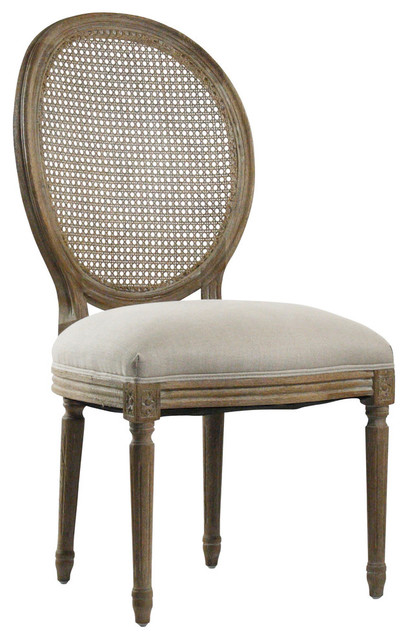 medallion side chair with cane back, gray oak - traditional