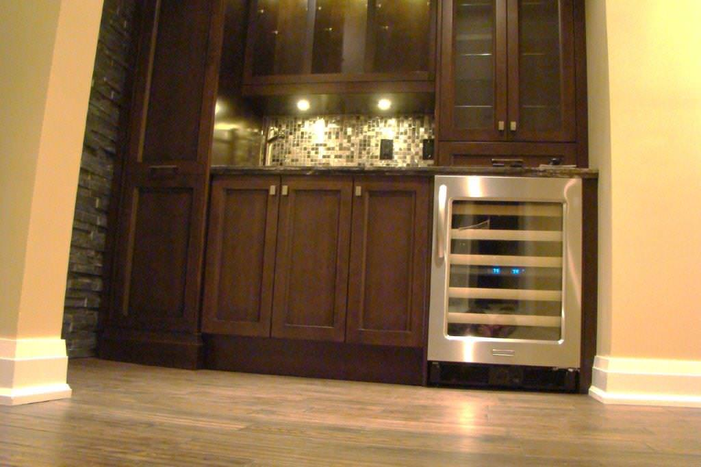 Family Room with Dark Custom Cabinetry