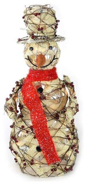 27 5 Burlap And Berry Rattan Snowman Christmas Decoration Farmhouse Outdoor Holiday Decorations By Northlight Seasonal