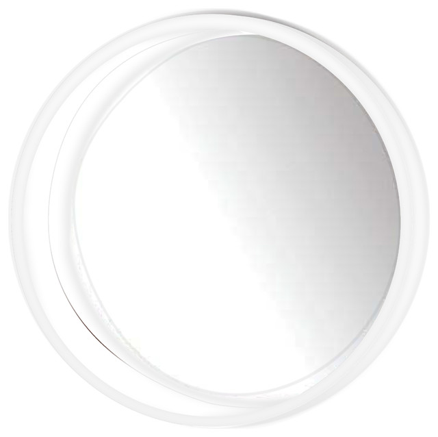 Huckins Round Wall Mirror, White. -1
