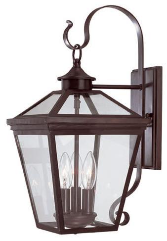 Savoy House 5-141 Heritage Ellijay 3 Light Outdoor Wall Lantern W/ Clear Glass.
