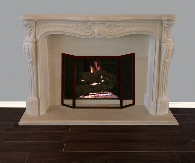 French Classic Cast Stone Fireplace Mantels Traditional